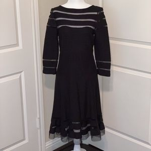 Tadashi Shoji Black Long Sleeve Cocktail Dress